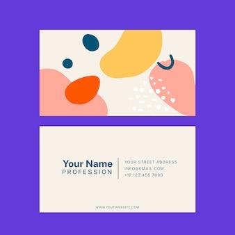 Carte de visite abstraite avec jeu de modèles de taches de couleur pastel