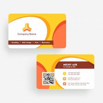 Carte de visite abstraite ou modèle de carte de visite à l'avant et à l'arrière