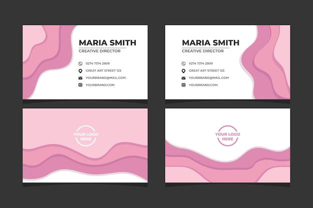 Carte de visite abstraite papercut en couleur rose