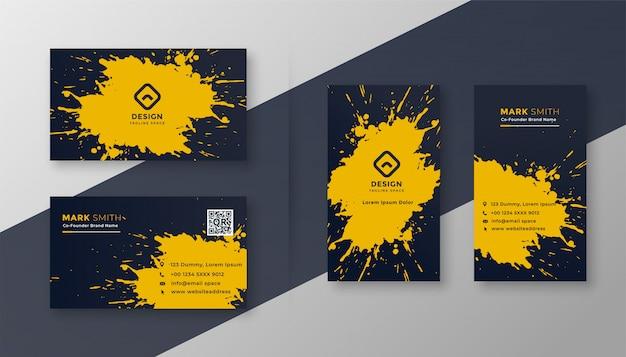 Carte de visite abstraite sertie d'éclaboussures jaunes