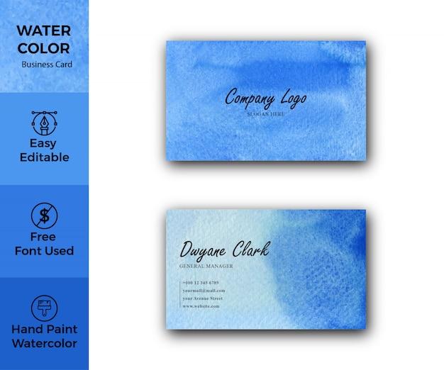 Carte de visite aquarelle abstraite bleue