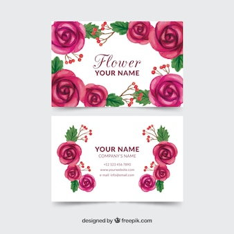 Carte de visite d'aquarelle avec des fleurs violettes