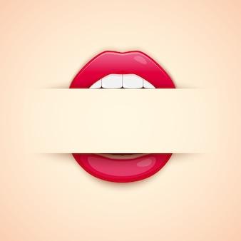 Carte de visite artiste de maquillage. modèle avec impression de lèvres rouges et espace vide pour texte