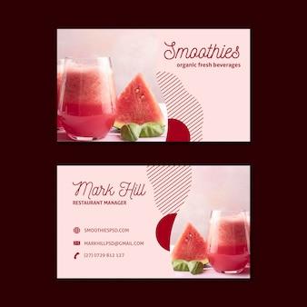 Carte de visite de barre de smoothies