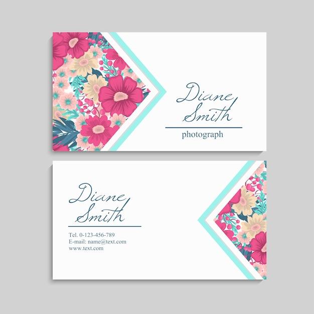 Carte de visite de beau design floral
