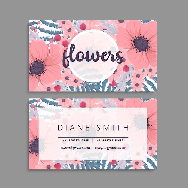 Carte de visite avec de belles fleurs. modèle
