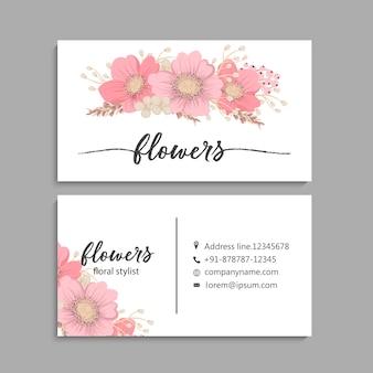 Carte de visite avec de belles fleurs roses