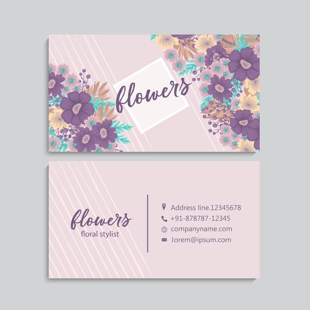 Carte de visite avec de belles fleurs.