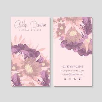Carte de visite avec de belles fleurs