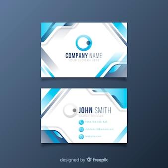 Carte de visite blanche abstraite avec logo et formes bleues