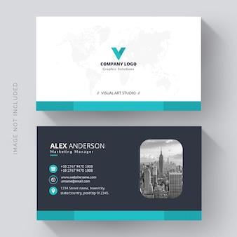 Carte de visite bleu et blanc