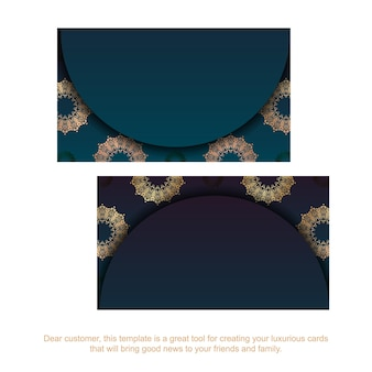 Carte de visite bleu dégradé avec motif doré vintage pour vos contacts.