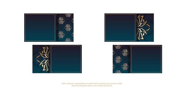 Carte de visite bleu dégradé avec motif doré vintage pour votre personnalité.