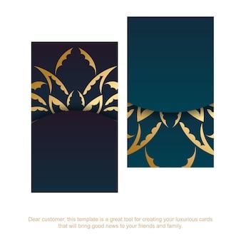 Carte de visite bleu dégradé avec ornement mandala doré pour votre personnalité.