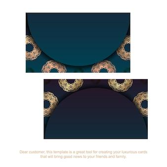 Carte de visite bleu dégradé avec ornement vintage en or pour vos contacts.