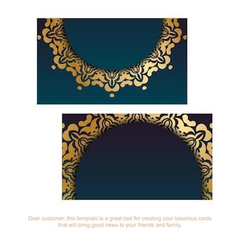 Carte de visite bleu dégradé avec des ornements luxueux en or pour votre personnalité.