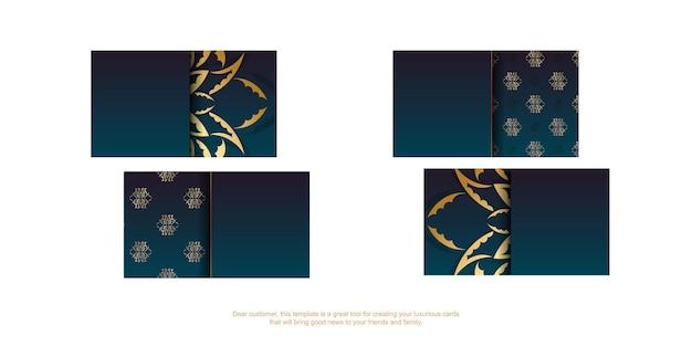 Carte de visite bleu dégradé avec des ornements en or vintage pour vos contacts.