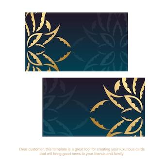 Carte de visite bleu dégradé avec des ornements en or vintage pour votre entreprise.