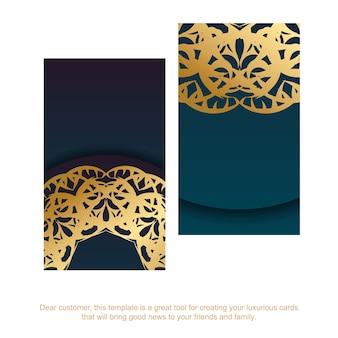 Carte de visite bleu dégradé avec des ornements en or vintage pour votre personnalité.