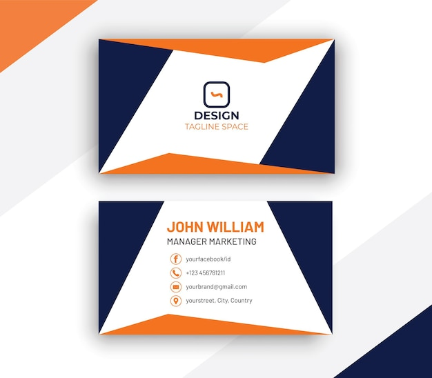 Carte de visite bleu et orange de style minimal