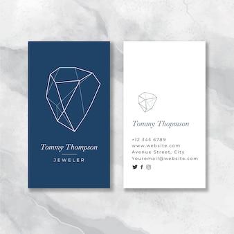 Carte de visite bleue de bijoutier plat