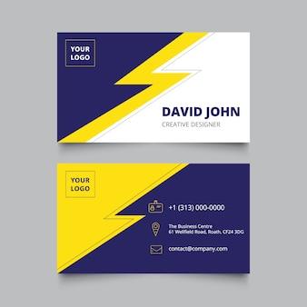 Carte de visite bleue et jaune