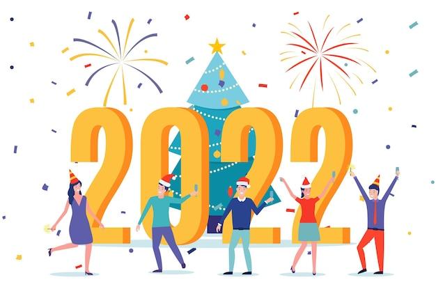 Carte de visite de bonne année 2022. des gens heureux en bonnet de noel grillant du champagne avec des confettis. illustration vectorielle dans un style plat