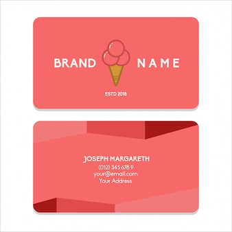 Carte de visite bussiness ice cream couleur rouge plat