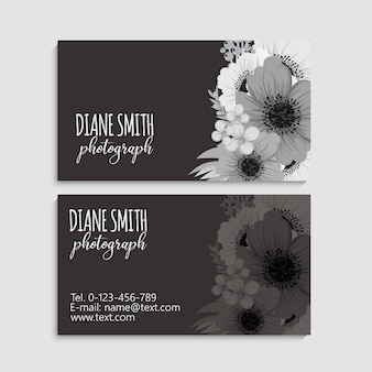 Carte de visite et carte de visite avec fleurs