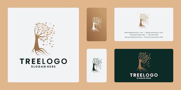 Carte de visite de conception de logo d'arbre avec la couleur dorée