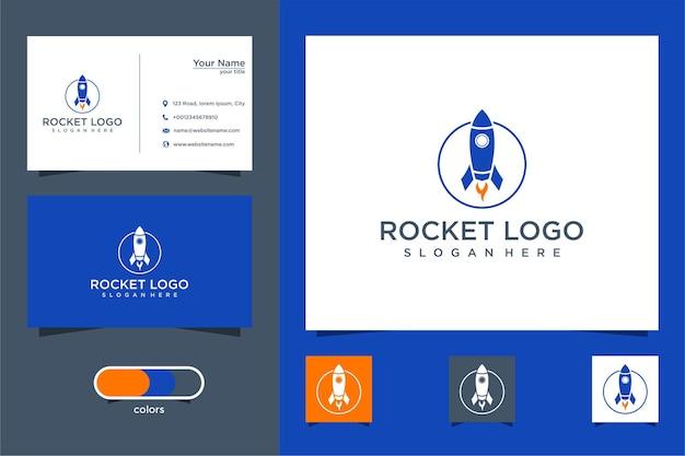 Carte de visite de conception de logo de fusée