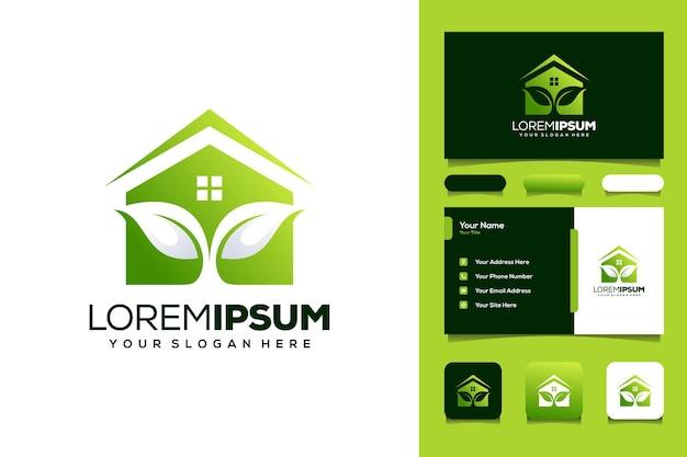 Carte de visite de conception de logo de jardin de maison