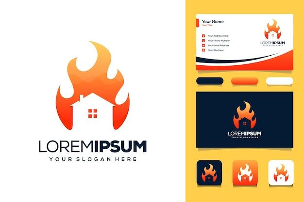 Carte de visite de conception de logo de maison et de feu