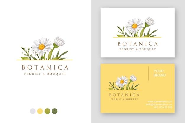 Carte de visite de conception de logo de marguerite dessiné à la main