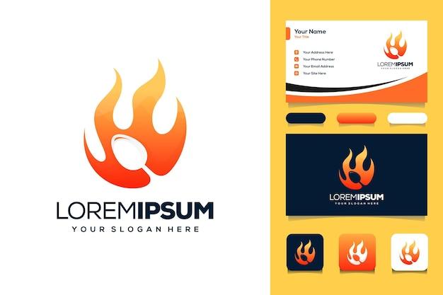 Carte de visite de conception de logo de nourriture chaude