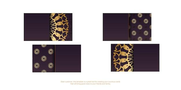 Carte de visite de couleur bordeaux avec des ornements indiens en or pour votre personnalité.