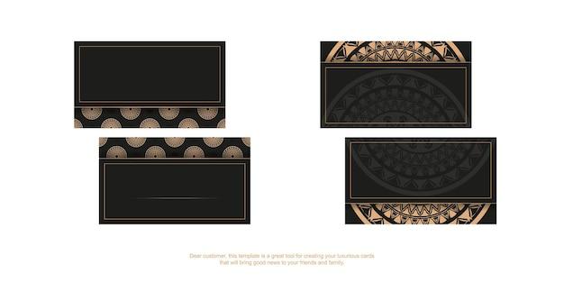 Carte de visite de couleur noire avec ornement de mandala marron. illustration vectorielle