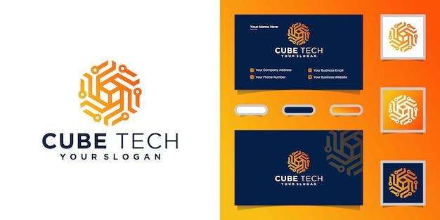 Carte de visite cube tech logo, hexagone et inspiration