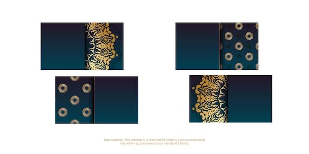 Carte de visite dégradé bleu avec motif doré de luxe pour votre marque.