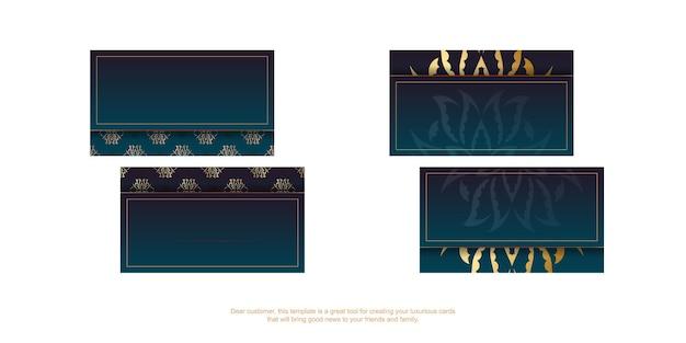 Carte de visite dégradé bleu avec motif doré vintage pour votre marque.