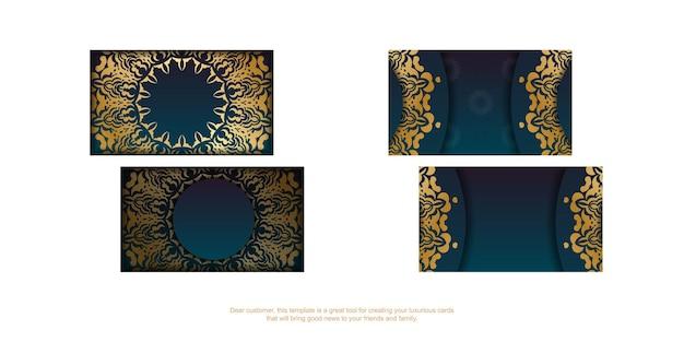 Carte de visite dégradé bleu avec ornements indiens en or pour votre marque.