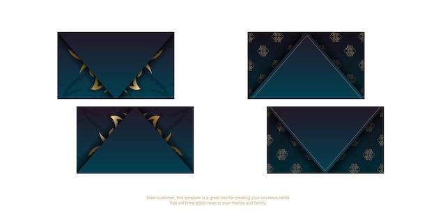 Carte de visite dégradé bleu avec des ornements en or vintage pour votre marque.