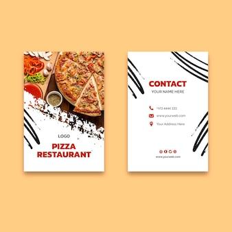 Carte de visite délicieuse de restaurant de pizza