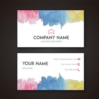 Carte de visite avec design en aquarelle multicolore