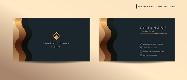 Carte de visite design de luxe avec modèle minimaliste de style or