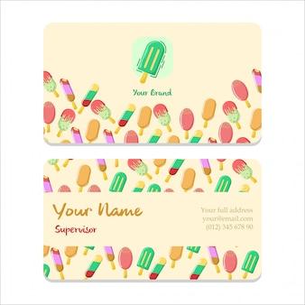 Carte de visite design plat de bussiness ice cream