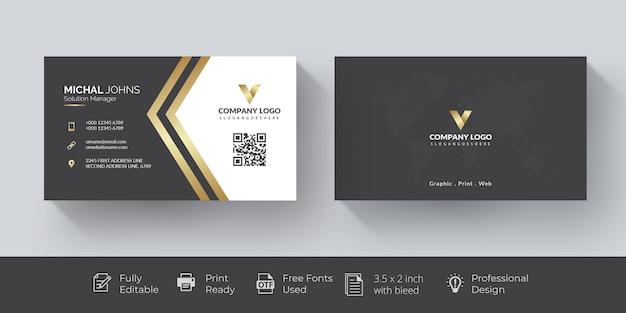 Carte de visite dorée élégante carte de visite dorée et noire