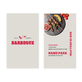 Carte de visite double face verticale barbecue