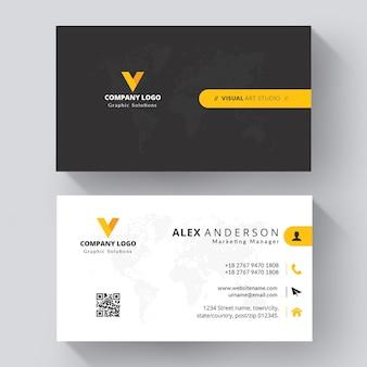 Carte de visite élégante entreprise jaune et blanche
