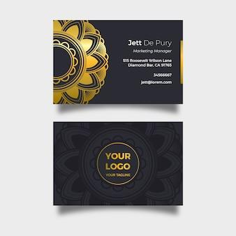 Carte de visite élégante avec mandala doré